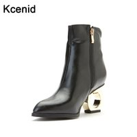 kadınlar 33 topuklu toptan satış-Kcenid Moda sivri burun kesilmiş metal garip yüksek topuklu kadınlar ayak bileği çizmeler yan zip peluş kış ayakkabı kadın büyük boy 33-49