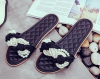 Wholesale Hard Rope - 2018 new pearl straw rope beach slippers Womens flat sandals Round head shoes flat bottom Fashion slippers Walking Shoes Elastic slippers