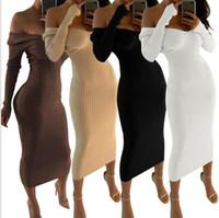 Wholesale Mid Wholesale Bodycon Dresses - Women Sexy V Neck Off Shoulder Long Sleeve Bodycon Maxi Dress Party Dress Clubwear 4 color LJJK968