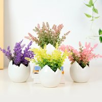 ingrosso piante in vaso di plastica-Fiori artificiali lavanda in vaso di plastica fiore bonsai per la decorazione della tavola di casa di nozze pianta falsa in vaso