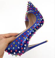femme pompes bleues achat en gros de-Rivets classiques, escarpins pour dames, points bleus luxueux, orteils, talons hauts, crampons, talons hauts, dîner officiel sexy, chaussures pour femmes, 10 mètres