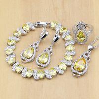 Wholesale Yellow Jade Beads Bracelet - whole saleSilver 925 Bridal Jewelry Yellow Cubic Zirconia Beads Jewelry Sets For Women Earrings Pendant Ring Bracelet Necklace Set