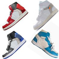 Wholesale pvc fishing - Hot Sale High Top One White Red Blue Men Basketball Shoes Zip Tie Card Trends Limited OF Men Running Sneakers EU 40-46