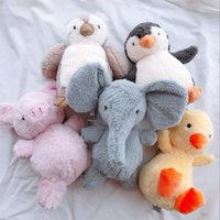 Wholesale plush penguin toys online - 18cm Comforting Stuffed Plush Doll Ins Animals Elephant Pig Duck Owl Penguin Baby Companion Sleeping Plush Dolls Toys AAA1135