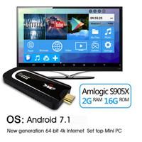 varas de androids de tv venda por atacado-H96 Pro H3 Mini PC Amlogic S905X Núcleo Quad Android 7.1 TV Dongle 2 GB de RAM 16 GB ROM 2.4G / 5. G WiFi BT 4.0 1080 P 4 K HD TV Vara