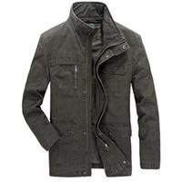 новый мульти-куртка на молнии оптовых-New Men jacket jean  army soldier coon Autumn Mens jackets Multi Pocket Zipper Buon Coon Outwear Jacket for Men