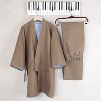 ingrosso vendita yukata-Kimono giapponese Yukata in cotone con scollo a V pigiama da uomo pigiama da notte in cotone e pantaloni da uomo in cotone L vendita calda