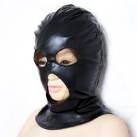 Wholesale mask sex parties for sale - Group buy Fetish Fantasy Mask Hood with Open Eyes and Mouth Holes Party Mask Cosplay Hood Harness Mask Bondage Restraint Sex Products