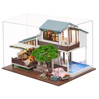 Wholesale london model - London Holiday Christmas Gift DIY Dollhouse With Cover Light Car Music House Model Best Toy Gift For Girl