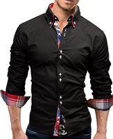 Wholesale long sleeve shirt double - Brand 2017 Fashion Male Shirt Long-Sleeves Tops Double collar business shirt Mens Dress Shirts Slim Men 3XL