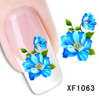 Wholesale Flower Water Decals - Flower Design Water Transfer Nails Art Sticker Decals Lady Women Manicure Tools Nail Wraps Decals Wholesale Xf1063