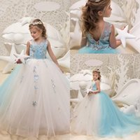 Wholesale royal purple colors - Princess Two Colors Ivory and Light Sky Blue Girls Pageant Dresses Jewel Neck Lace Flowers Ball Gown Tulle Corset Back Flower Girls Dresses
