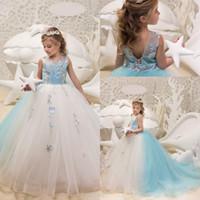 fildişi dantelli çiçekler toptan satış-Prenses Iki Renk Fildişi ve Açık Gökyüzü Mavi Kızlar Pageant elbise Jewel Boyun Dantel Çiçekler Balo Tül Korse Geri Çiçek Kız Elbise