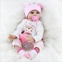 neue mädchen puppen großhandel-Haar verwurzelt Realistische Reborn Babypuppen Soft Silikon 22