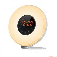Wholesale round radio - Wake Up Light with Sunrise Sunset Simulation [2018 UPGRADED] 6 Natural Sounds FM Clock Radio 10 Brightness Levels 7 Colors Night Light Snooz