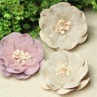 artesanías de terciopelo al por mayor-Nuevo diseño 10Pcs 4 * 4cm Velvet penoy Bud Flowers Head para la decoración de la boda DIY Wreath Gift Box Scrapbooking Craft Fake Flowers