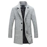 Wholesale mens wool jacket pea coat - M-5XL 2017 New Fashion Long Trench Coat Men Winter Mens Overcoat 40% Wool Thick Pea Trench Coat Male Jacket