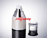 Wholesale airless serum bottles resale online - 50pcs ml ml pearl white airless bottle silver collar airless bottle for serum lotion emulsion fundation packing