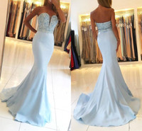 Wholesale red heart pictures - Light Sky Blue Mermaid Prom Dresses 2018 Sweet Heart Backless Major Beading Floor Length Long Evening Party Red Carpet Pageant Gowns Cheap
