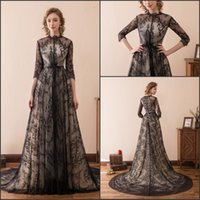 Wholesale sexy wedding dresses stock for sale - Group buy Sexy Black Lace Gothic Wedding Dresses Half Sleeve Sheer A Line Newest Stock Chapel Train Long Bridal Ball Gowns Formal