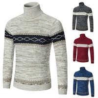 ingrosso modelli a maglia senza maglia-Mens Slim Fit Sweater per autunno e inverno Turtle Neck Knitted Pullover Classic Panalled Patterns Free Shipping Knitting Clothing