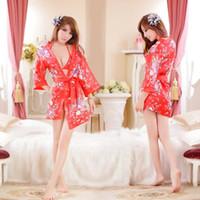lingerie transparente vermelha venda por atacado-2018 flor de cereja vermelha japonesa quimono estilo sexy pijamas de três pontos terno tentação transparente senhoras sexy lingerie