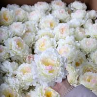 yapay şakayık çiçek başları toptan satış-Yapay Çiçekler Ipek Şakayık Çiçek Başkanları Düğün Parti Dekorasyon malzemeleri Simülasyon sahte çiçek kafa ev dekorasyonu toptan 15 cm