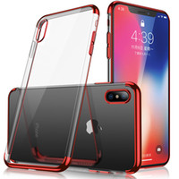 Wholesale clear gels - Metal Electroplating Soft TPU Clear Back Case For iPhone X 8 7 6 6S Plus Samsung S8 S9 Plus Note 8 Gel Silicone Anti-shock Protector Cases