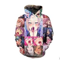 Wholesale 3d Sexy Cartoon Girls - Anime Hoodies Fashion Couples Mens Women Unisex Cartoon Ahegao Sexy Girl 3D Print Hip Hop Hoodies Sweater Sweatshirt Jacket Pullover Top
