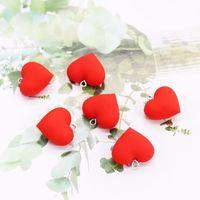 jóias descobertas coração formas venda por atacado-10 pçs / lote acessórios de jóias cor vermelha forma de coração de borracha de Plástico Do Parafuso Prisioneiro Da Orelha Studs Resultados Da Jóia Componentes encantos para brinco pregos