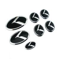 kia optima embleme großhandel-7PCS 3D neues Auto-Aufkleber-K-Logo-Flug-Front-hinteres Emblem-Abzeichen für KIA K5 2011-2013 OPTIMA FORTE 2009-2014 SEDAN-Abzeichen