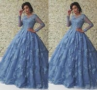 Wholesale sheer crew formal long prom dress resale online - Blue Illusion Long Sleeve Quinceanera Dresses Ball Gown Floor Length Sheer Neck Lace Appliques Tulle Girls Prom Dresses Formal