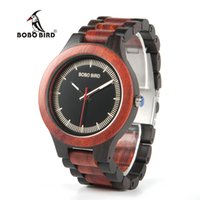 Wholesale Gold Weide - BOBO BIRD Timepieces Men Wood Watches Luxury Handmade Quartz Watches Two-tone Wooden Drop Shipping