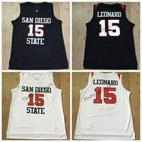 ingrosso camicia leonard kawhi-Vintage San Diego State Aztechi Kawhi Leonard # 15 Pullover di pallacanestro universitari Mens economici Nero Kawhi Leonard University cucita camicie