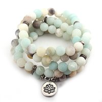 ingrosso collana della perla del branello-DIEZI Fashion New Design Donna Uomo Amazonite 108 Mala Beads Lotus Charm Strand Bracciale Collana Yoga Bracciale