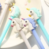 Wholesale plastic school - Girl Heart Cartoon Unicorn Student Writing Pen Office Eexamination High Quality Luxury Limited Office Material School Supplies 1208