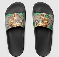 женская обувь европейского стиля оптовых-Мужчины Женщины дизайнерские тапочки горки женские сандалии пляжная планка тапочки европейские линии тигра стиль обувь сандалии на платформе с коробкой высшего качества