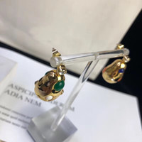 Wholesale colorful diamond shape for sale - Group buy Top brass material paris design drop shaped with colorful diamond earring decorate stamp logo charm earring for women jewelry gift Drop ship