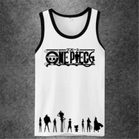 Großhandels-One Piece Anime Workout Tank Top Männer Frauen Marke Fitness Bodybuilding Crossfit Singuletts Muscle 3D Printed Männer Casual Tanks Top