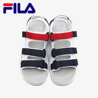 Wholesale cheap white heels for women - Fashion Fila Sandals 2 For Men Women 2018 Cheap Beach Slippers Black White Red Anti-slipping Outdoor Light Soft Water Sandal Size 36-44