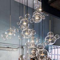 ingrosso illuminazione minimalista appesa-lampade a sospensione in vetro minimalista lampadario molecolare nordico designer italiano creativo bolle di vetro ristorante ristorante lampade a sospensione