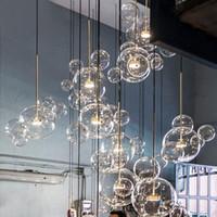 nordic glass chandelier großhandel-Pendelleuchten Glas minimalistischen molekularen nordischen Kronleuchter italienischen Designer kreative Blase Glas Restaurant Restaurant Hängelampen