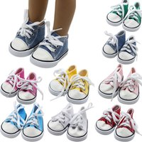 американские ботинки оптовых-ARLONEET Baby Shoes Girl Boy Canvas Lace Up PU Sneakers Shoes For 18 inch American kids
