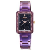 diamantes de aço novo relógio de mulher preto venda por atacado-Nova 2018 Moda de Luxo Praça Diamante Relógio de Quartzo das Mulheres Chapeamento Roxo Azul Preto Pulseira De Aço Inoxidável Relogio Relógio