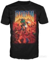 Wholesale print poster design - Limited Doom Cover Game Poster Logo Design Mens Black T-Shirt Size S-5XL