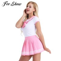 5c6fea8a2fd 2Pcs Fashion Women Adults Short Sleeve Role Play Costumes Snap Crotch  Striped Collar Romper with Mini Pleated Skirt Cosplay Sets sexy