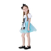 алиса чудесные платья оптовых-New 2018 Halloween Women Childs Anime Alice In Wonderland Blue Party Dress Alice Dream Childs Kids Girl Maid Cosplay Costume