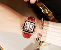 modelo coreano senhoras venda por atacado-New Retro Rhinestone Feminino Relógio Coreano Estudante de Moda Relógio de Quartzo Cinto De Couro Senhoras Relógio Feminino Modelos de Diamante