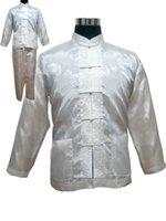 pantalones de satén chino al por mayor-Conjunto de pijamas de satén para hombres de talla grande XXXL de estilo chino Conjunto de pijamas de botón vintage Traje de manga larga Camisa de dormir