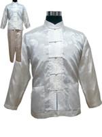 calças de cetim chinês venda por atacado-Plus Size XXXL Pijama de Cetim dos homens do Estilo Chinês Conjunto Botão Pijama Do Vintage Terno de Manga Longa Pijamas ShirtPant Nightwear Atacado
